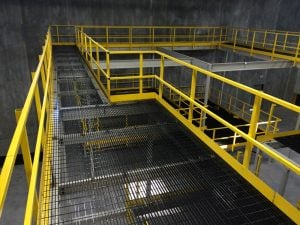 mezzanine work platform as a warehousing work platform